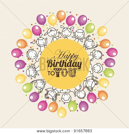 Birthday design over beige background vector illustration