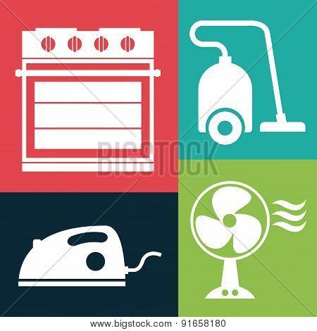 Appliances design over colorful background vector illustration