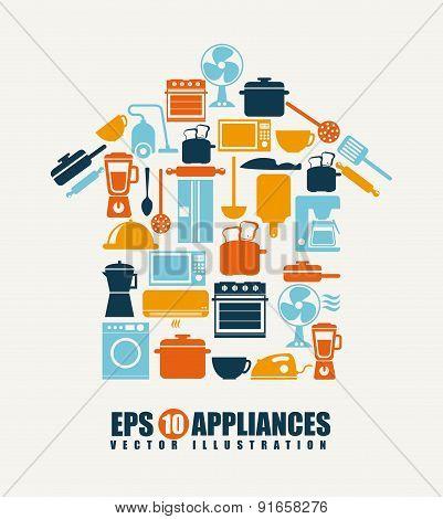 Appliances design over beige background vector illustration