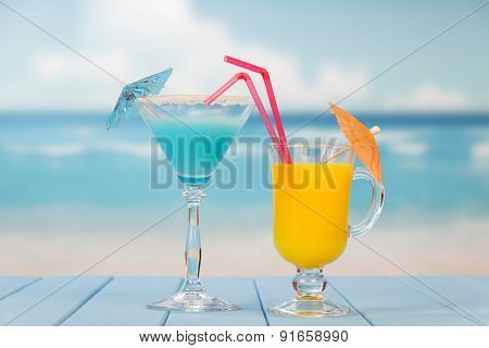 Alcoholic cocktail and juice