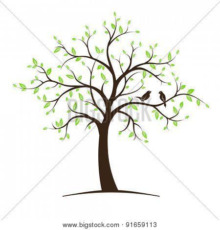 Image of tree with birds. Vector illustration