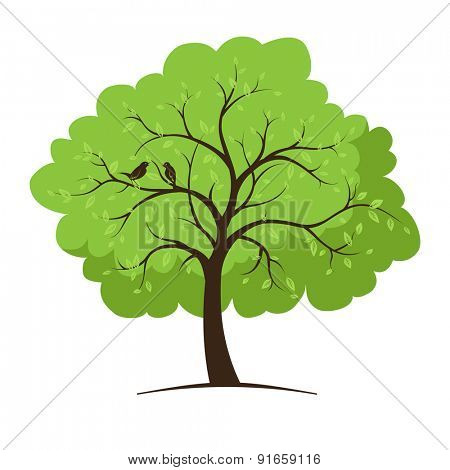 Single tree and birds. Vector illustration.