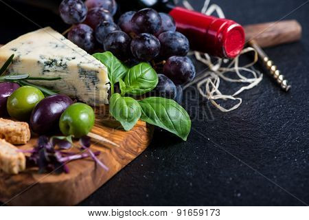 Food Background,rustic Board With Cheese Herbs And Wine