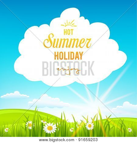 Summer background with clouds. Place for text.