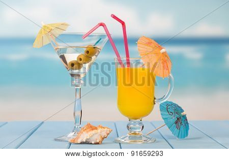 Cocktail with olives and juice