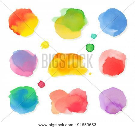 Watercolor painting, vector icon set