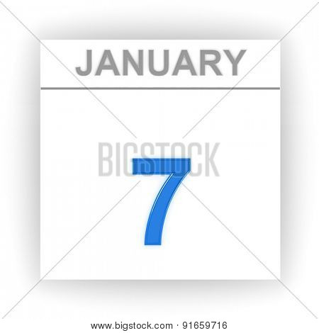 January 7. Day on the calendar. 3d