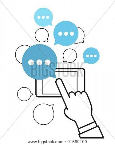 Communicating via modern smartphone concept. Simle line design illustration