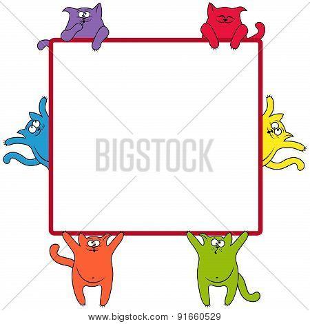 Funny Cats Around A Square Billboard