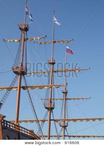 Sailing Ship Masts And Flags