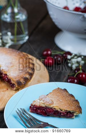 Traditional Homemade Cherry Pie Served On Rustic Table