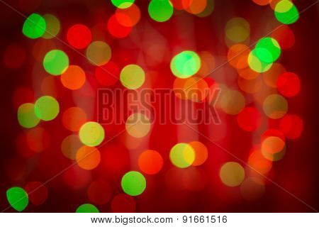 Red green blurred bokeh background.