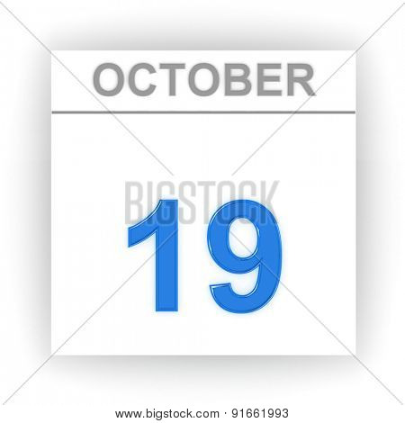 October 19. Day on the calendar. 3d