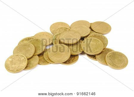 Bunch of old Spanish coins on a white background. One peseta.