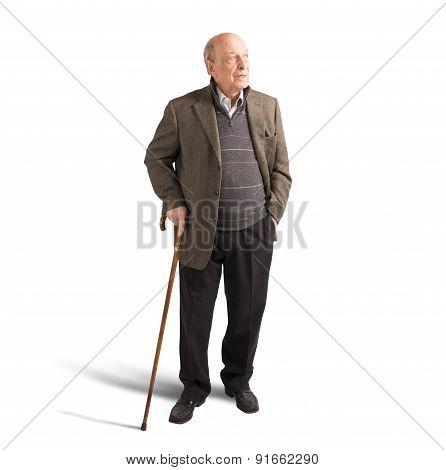 Elderly walking with stick