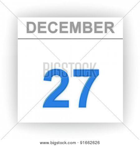 December 27. Day on the calendar. 3d