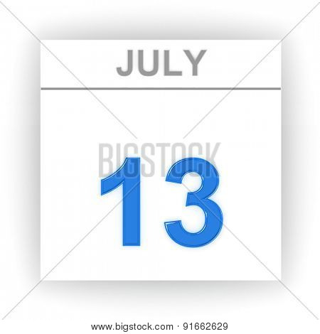 July 13. Day on the calendar. 3d