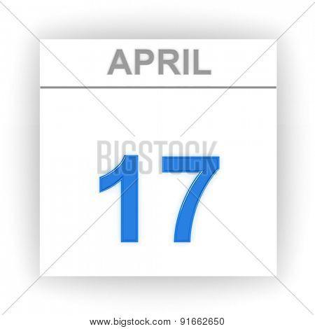 April 17. Day on the calendar. 3d