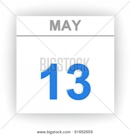 May 13. Day on the calendar. 3d