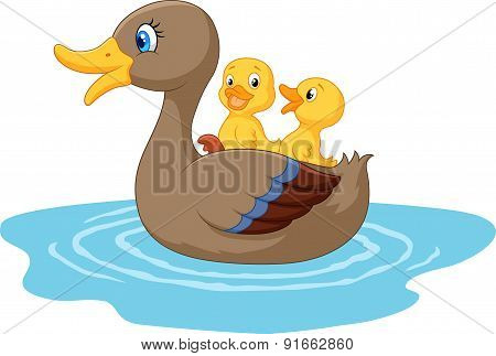 Cartoon ducks on the pond