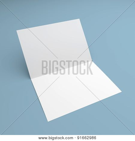 Blank Folded Flyer, Booklet, Postcard, Business Card Or Brochure