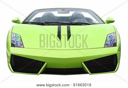 Closeup Of Luxury Green Supercar Isolated Over Pure White Background.