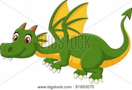 Cartoon green dragon flying