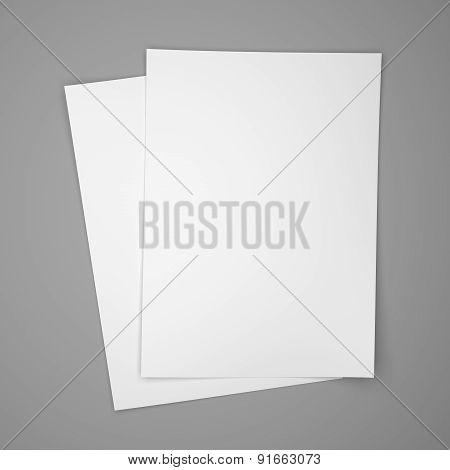 Two White Paper Sheets On Gray
