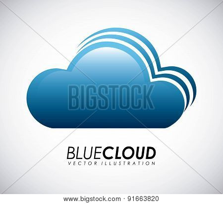 Cloud design over gray background vector illustration