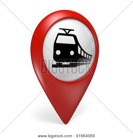 3D red map pointer icon with a train symbol for railway stations