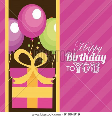 Birthday design over pink background vector illustration