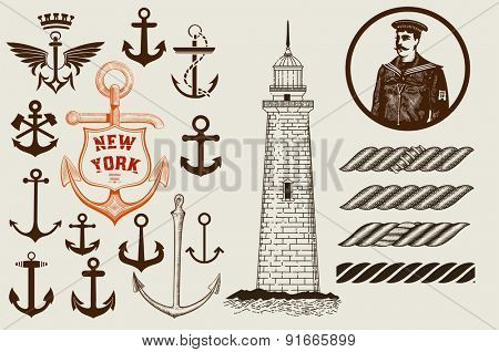 Set of marine and nautical elements. Vector