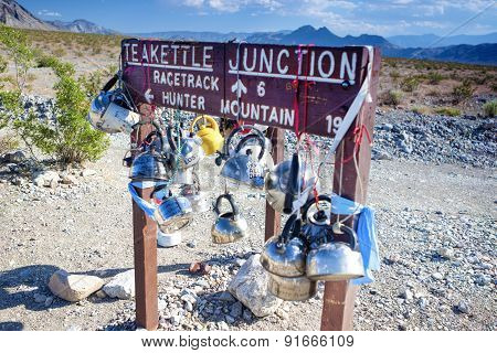 Plenty Of Kettles Across Teakettle Junction In Death Valley In California, Usa