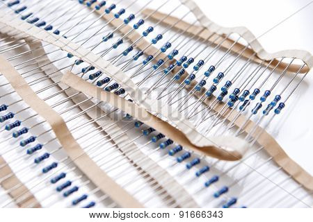 Many Resistors On Tape. Isolated Over White
