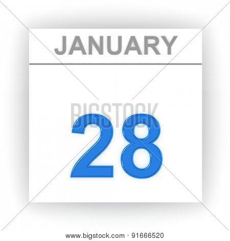 January 28. Day on the calendar. 3d