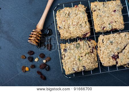 Homemade Muesli And Oat Cookies With Fruits And Honey