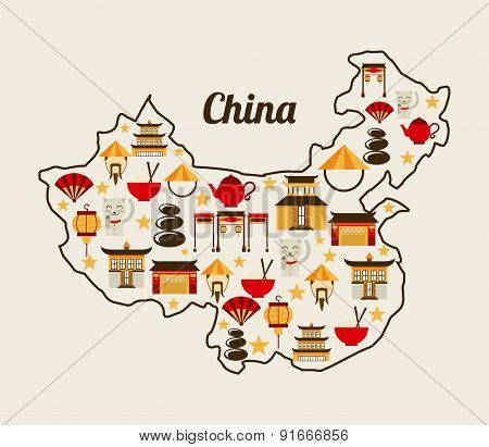 China design over white background vector illustration