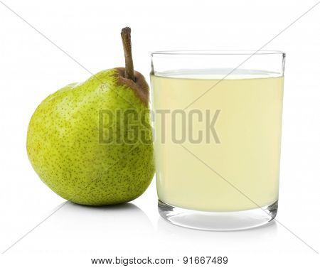 Pear juice with fresh fruit isolated on white