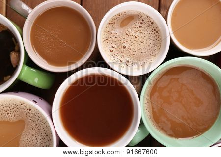 Cups of cappuccino, closeup