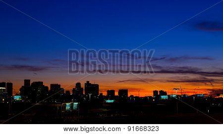 Sunset over Boston city