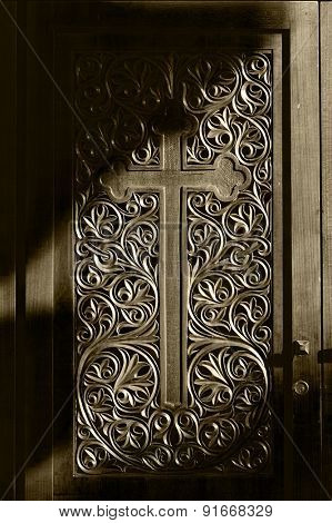Ancient door with wood carving