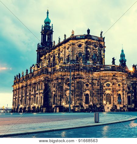 Katholische Hofkirche (Catholic Church of the Royal Court) Dresden. Germany. Toned photo
