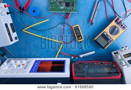 Electronics measuring devices in laboratory