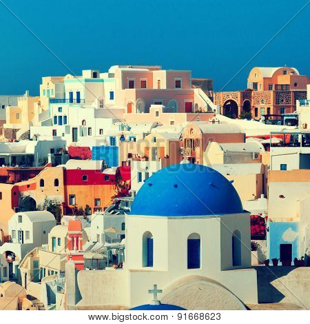Panorama of famous greece city Oia. Santorini island