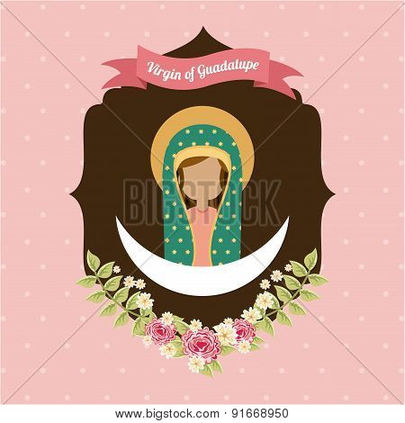 Holy Mary design over pink background vector illustration