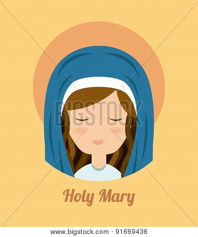Mary design over yellow background vector illustration