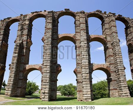 Vertical Panoramic View Of Roman Aqueduct