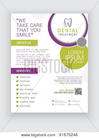 Professional Dental Treatment flyer, banner or template design for Dentist.