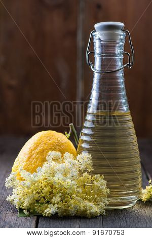 Homemade Elderflower Cordial On Wooden Background