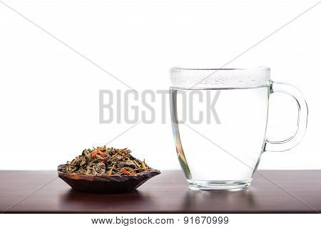Aromatic Antioxidant Green Tea On Wooden Board, Isolated Background